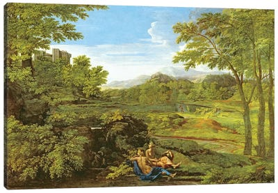 Landscape with Two Nymphs, 1659  Canvas Art Print