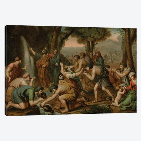 Moses striking Water (colour litho) Canvas Print #BMN8236} by Nicolas Poussin Canvas Art