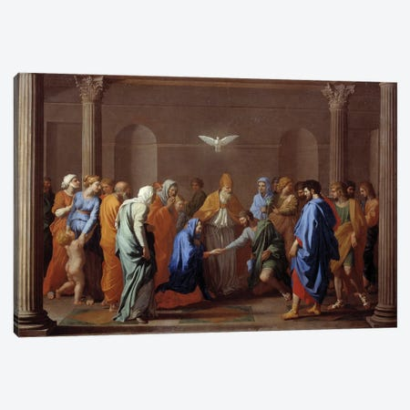 "Sacrament of Christian life: ""Marriage"", 17th century.  Canvas Print #BMN8238} by Nicolas Poussin Art Print"
