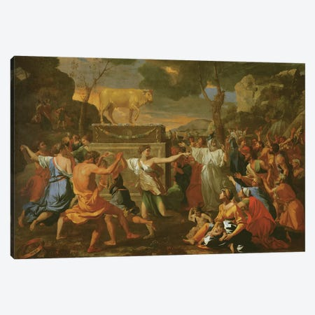 The Adoration of the Golden Calf, before 1634  Canvas Print #BMN8242} by Nicolas Poussin Canvas Wall Art