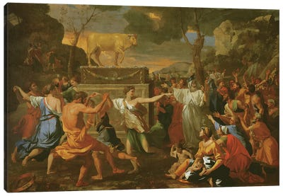The Adoration of the Golden Calf, before 1634  Canvas Art Print
