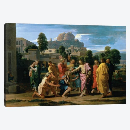 The Blind of Jericho, or Christ Healing the Blind, 1650  Canvas Print #BMN8246} by Nicolas Poussin Art Print