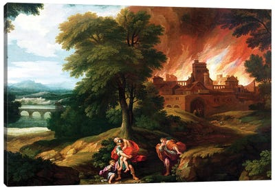 The Burning of Troy  Canvas Art Print
