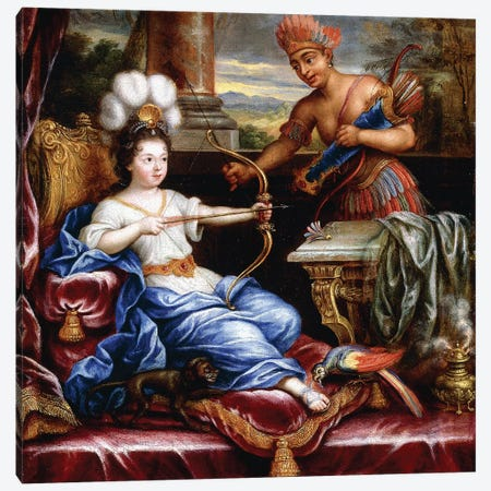 An Allegory of America Paying Homage to Europe,  Canvas Print #BMN8254} by Pierre Mignard Canvas Artwork