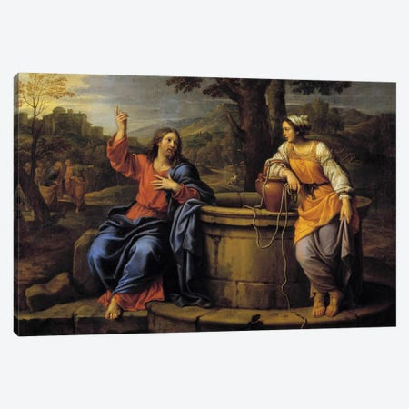 Jesus and Samaritan Jesus sitting to rest meets a Samaritan who came to draw water and asks her to drink.  Canvas Print #BMN8258} by Pierre Mignard Canvas Art Print