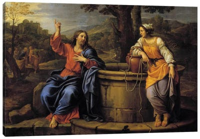 Jesus and Samaritan Jesus sitting to rest meets a Samaritan who came to draw water and asks her to drink.  Canvas Art Print