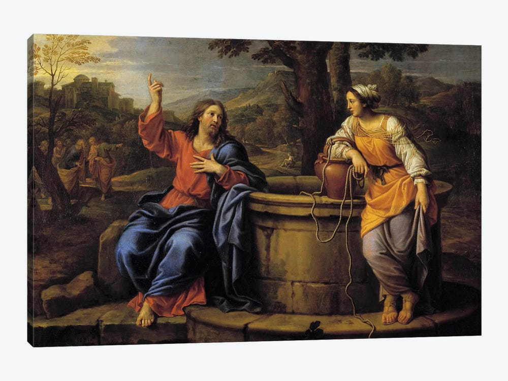 Jesus and Samaritan Jesus sitting to rest meets a Samaritan who came to draw water and asks her to drink.  by Pierre Mignard 1-piece Canvas Artwork