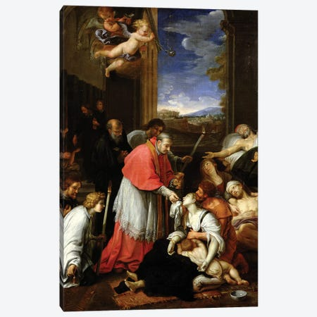 St. Charles Borromeo (1538-84) Administering the Sacrament to Plague Victims in Milan in 1576  Canvas Print #BMN8259} by Pierre Mignard Canvas Print