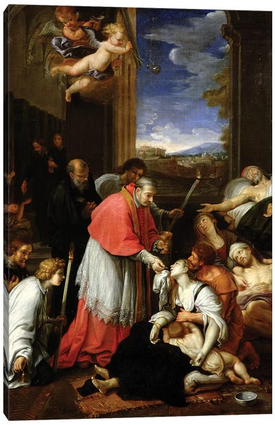 St. Charles Borromeo (1538-84) Administering the Sacrament to Plague Victims in Milan in 1576  Canvas Art Print