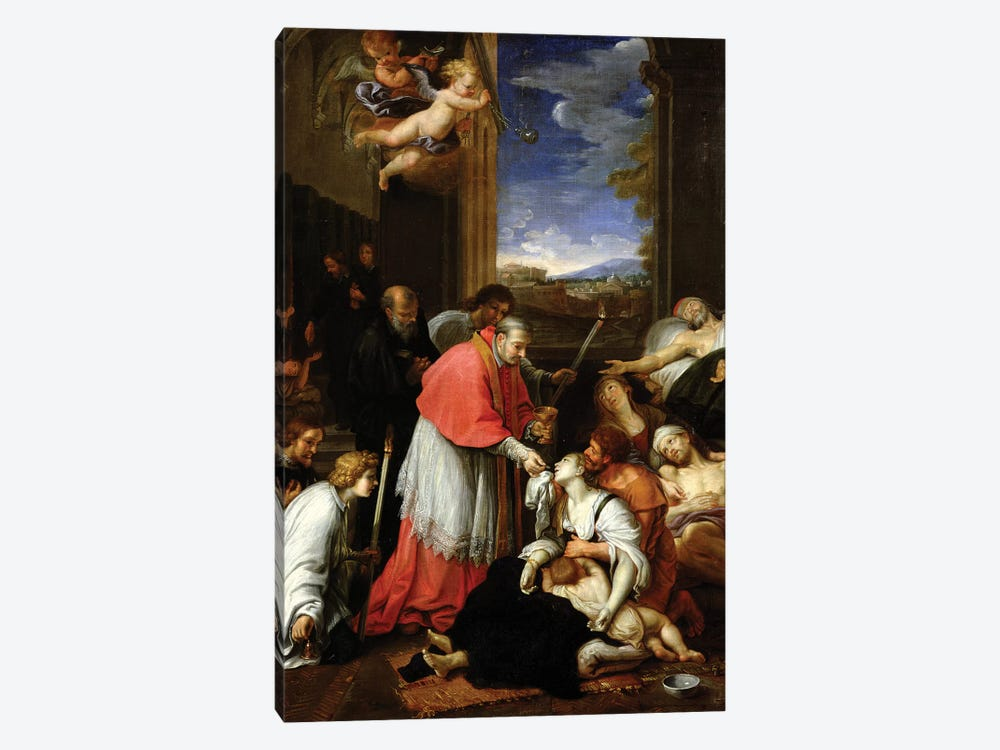 St. Charles Borromeo (1538-84) Administering the Sacrament to Plague Victims in Milan in 1576  by Pierre Mignard 1-piece Canvas Art Print