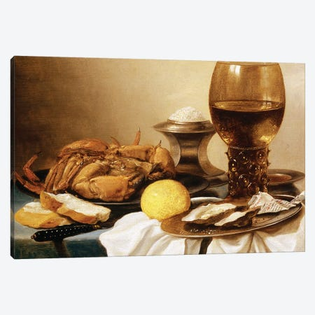 A Still Life of a Crab on a Pewter Plate  Canvas Print #BMN8261} by Pieter Claesz Canvas Wall Art