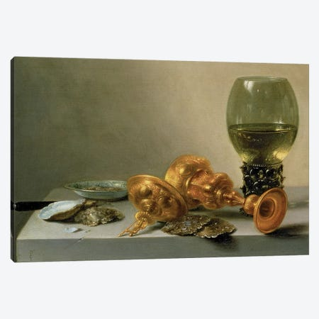 A Still Life with a Roemer and a Gilt Cup, c.1635 (painting) Canvas Print #BMN8262} by Pieter Claesz Canvas Art