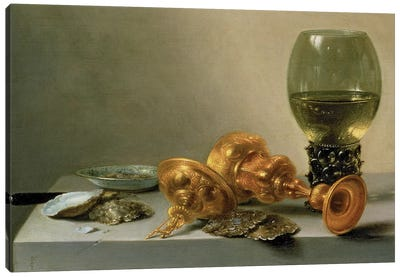 A Still Life with a Roemer and a Gilt Cup, c.1635 (painting) Canvas Art Print