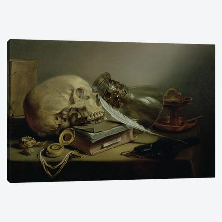 A Vanitas Still Life Canvas Print #BMN8263} by Pieter Claesz Canvas Wall Art