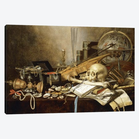 A Vanitas Still Life (Instruments, Manuscripts, Goblet, Jewellery, Candlestick, Globe, Jewels, Shells, Bones & Hour-Glass, 1653 Canvas Print #BMN8264} by Pieter Claesz Canvas Print