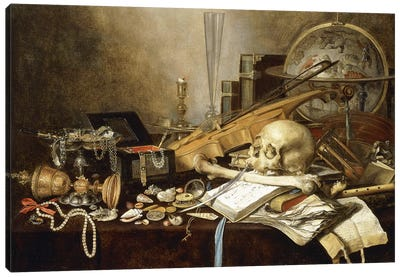 A Vanitas Still Life (Instruments, Manuscripts, Goblet, Jewellery, Candlestick, Globe, Jewels, Shells, Bones & Hour-Glass, 1653 Canvas Art Print
