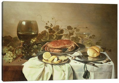 Breakfast still life with roemer and a crab Canvas Art Print