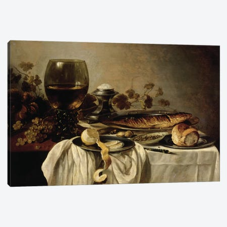 Breakfast, 1646  Canvas Print #BMN8266} by Pieter Claesz Art Print