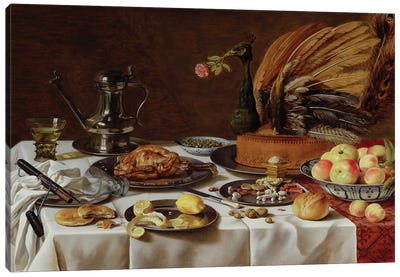 Still Life with a Peacock Pie, 1627  Canvas Art Print