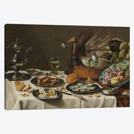 Still Life with a Turkey Pie, 1627  Canvas Print #BMN8269} by Pieter Claesz Canvas Artwork