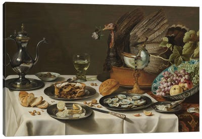 Still Life with a Turkey Pie, 1627  Canvas Art Print
