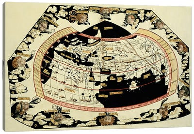 Map of the world, based on descriptions and co-ordinates given in 'Geographia', by Ptolemy Art Print