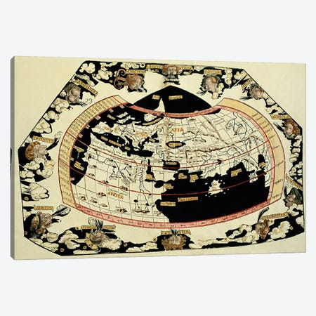 Map of the world, based on descriptions and co-ordinates given in 'Geographia', by Ptolemy  Canvas Print #BMN826} by Unknown Artist Art Print