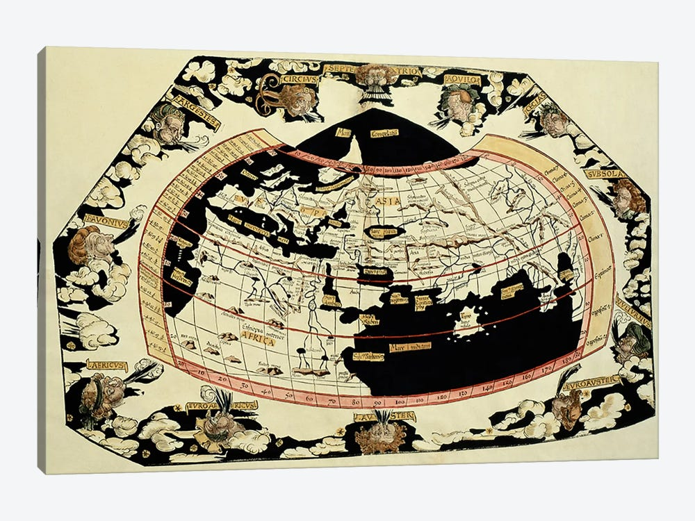 Map of the world, based on descriptions and co-ordinates given in 'Geographia', by Ptolemy  by Unknown Artist 1-piece Canvas Wall Art