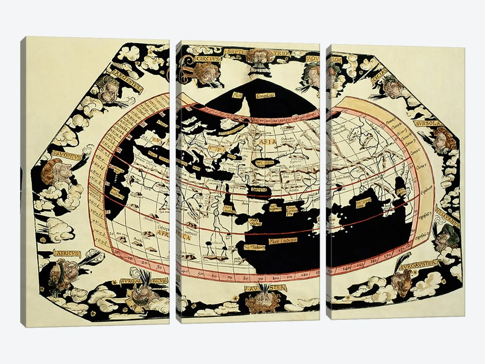 Map of the world, based on descriptions and co-ordinates given in 'Geographia', by Ptolemy  by Unknown Artist 3-piece Canvas Wall Art