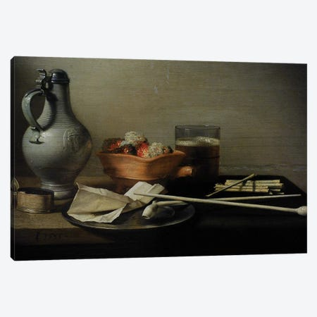 Still Life With Clay Pipes, 1636 Canvas Print #BMN8270} by Pieter Claesz Canvas Art Print