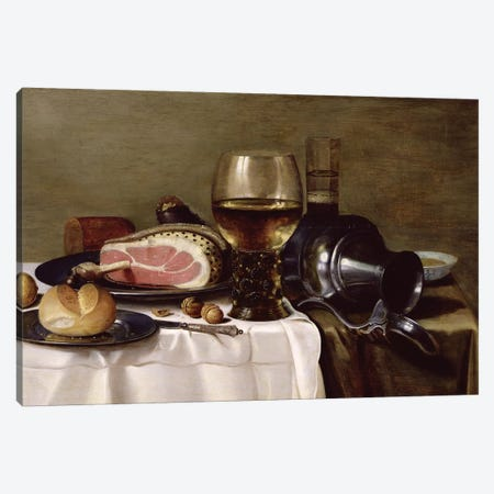 Still Life with Ham  Canvas Print #BMN8271} by Pieter Claesz Canvas Print