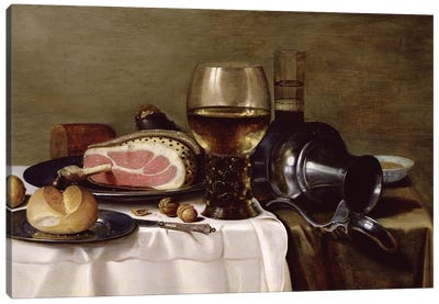 Still Life with Ham  Canvas Art Print