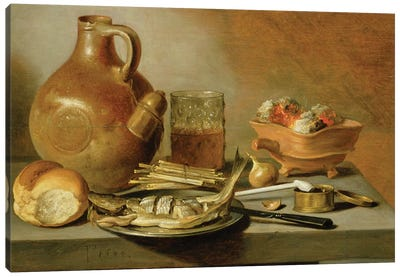 Still Life with Jug, Herring and Smoking Requisites, 1644  Canvas Art Print
