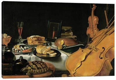 Still Life with Musical Instruments, 1623  Canvas Art Print