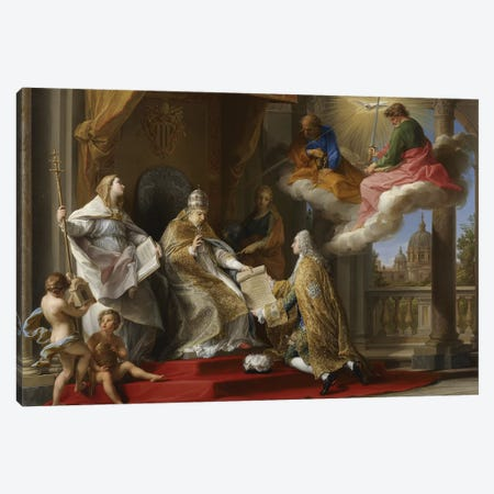 Pope Benedict XIV presenting the Encyclical 'Ex Omnibus' to the Comte de Stainville, later Duc de Choiseul, 1757  Canvas Print #BMN8287} by Pompeo Girolamo Batoni Canvas Art Print