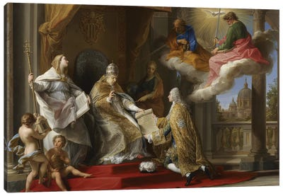 Pope Benedict XIV presenting the Encyclical 'Ex Omnibus' to the Comte de Stainville, later Duc de Choiseul, 1757  Canvas Art Print