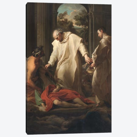 The Blessed Bernardo Tolomei Helping Plague Victims, 1745  Canvas Print #BMN8288} by Pompeo Girolamo Batoni Canvas Art