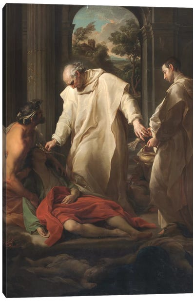 The Blessed Bernardo Tolomei Helping Plague Victims, 1745  Canvas Art Print