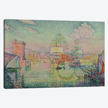Entrance to the Port of Marseille, 1918  3-Piece Canvas #BMN829} by Paul Signac Canvas Art