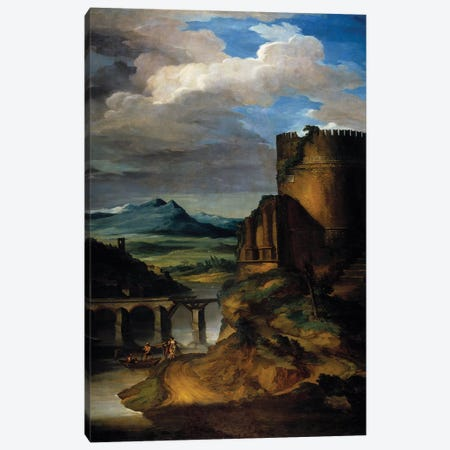 Great landscape of Italy Landscape of ruins, tower and bridge. 19th century Sun Canvas Print #BMN8314} by Theodore Gericault Canvas Print