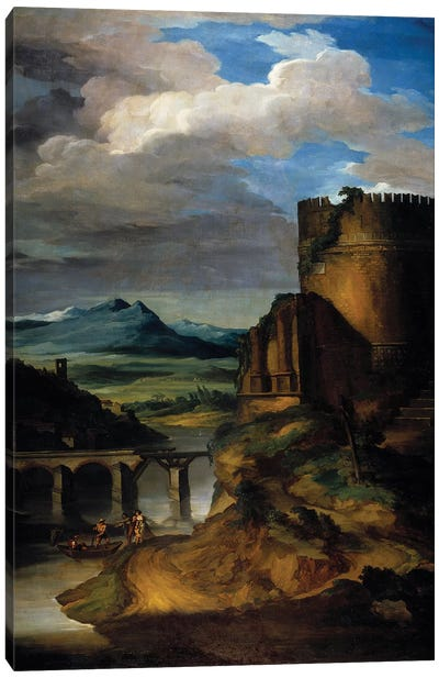 Great landscape of Italy Landscape of ruins, tower and bridge. 19th century Sun Canvas Art Print