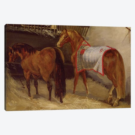 Horses in the Stables  Canvas Print #BMN8317} by Theodore Gericault Canvas Art Print