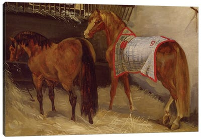 Horses in the Stables  Canvas Art Print