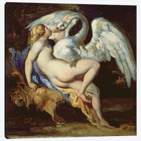 Leda and the Swan  Canvas Print #BMN8319} by Theodore Gericault Canvas Art