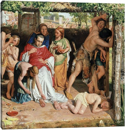 A converted British Family sheltering a Christian Missionary from the Persecution of the Druids, 1850  Canvas Art Print