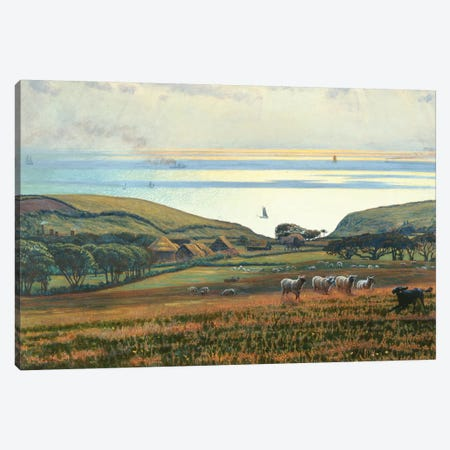 Fairlight Downs, Sunlight on the Sea  Canvas Print #BMN8330} by William Holman Hunt Canvas Wall Art