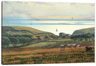 Fairlight Downs, Sunlight on the Sea  Canvas Art Print