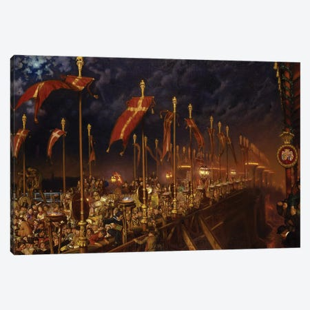 London Bridge on the Night of the Marriage of the Prince and Princess of Wales, 1863-6  Canvas Print #BMN8333} by William Holman Hunt Canvas Wall Art