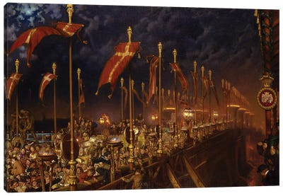 London Bridge on the Night of the Marriage of the Prince and Princess of Wales, 1863-6  Canvas Art Print