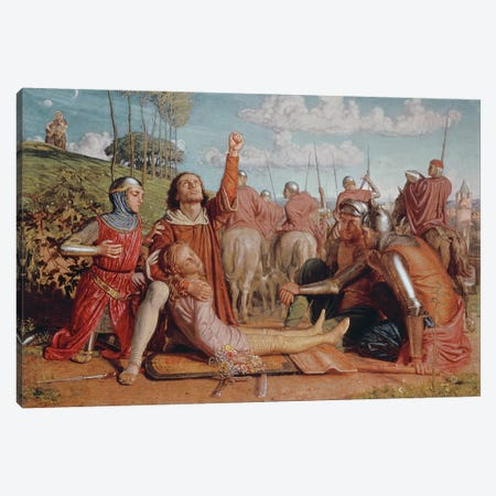 Rienzi Vowing to Obtain Justice for the Death of his Young Brother, Slain in a Skirmish between the Colonna & Orsini Factions Canvas Print #BMN8337} by William Holman Hunt Canvas Print